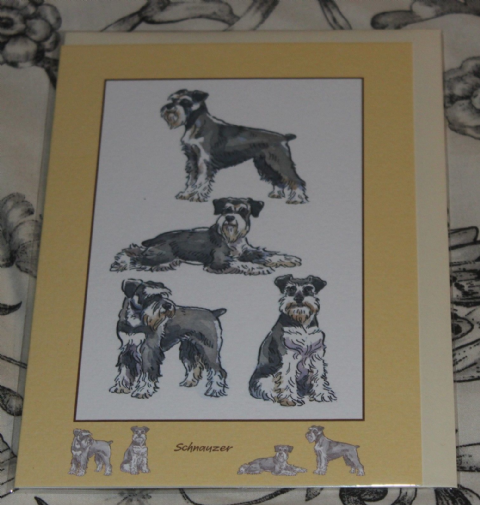 SCHNAUZER GREETINGS CARD with pictures of the breed